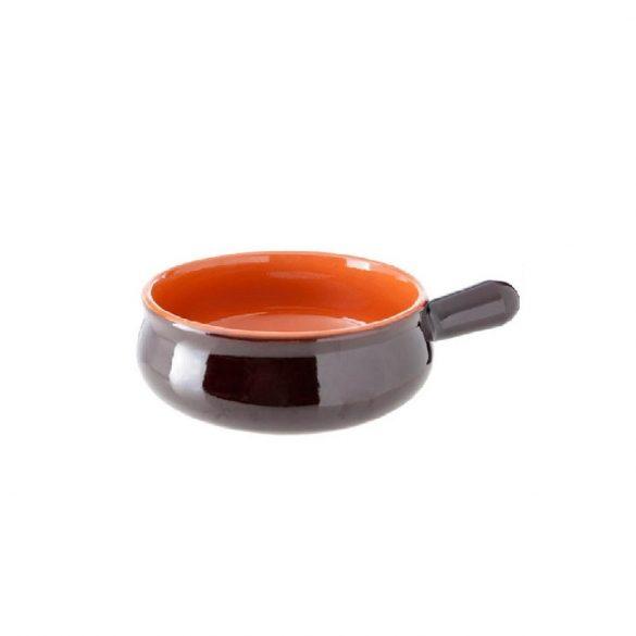 Vas ceramica termo 14 cm, maro, 1 maner, De Silva