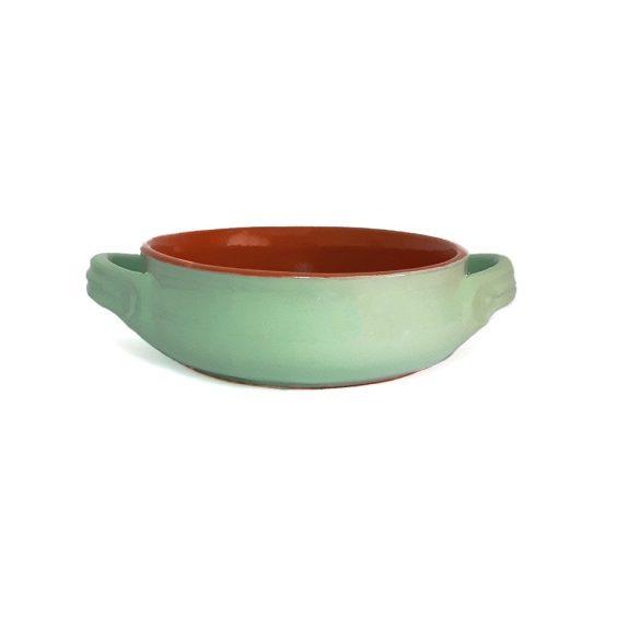 Vas ceramica termo 14 cm, verde, 2 manere, De Silva