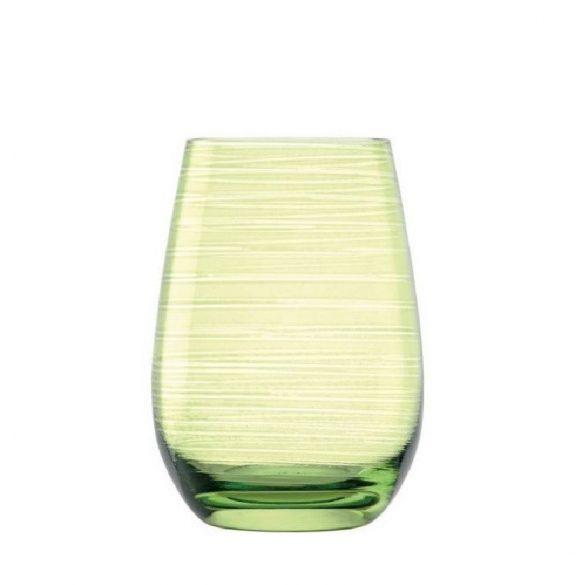 Pahar oblic, fara picior, culoare Verde, 465 ml, Stolzle, linia Twister