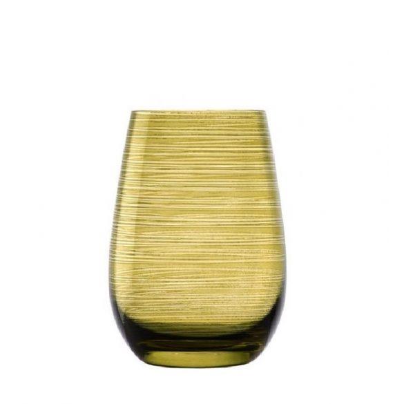 Pahar oblic, fara picior, culoare Oliv, 465 ml, Stolzle, linia Twister