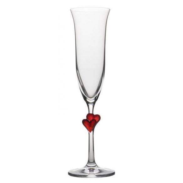 Pahar sampanie cu inimoara rosu 175ml Stolzle