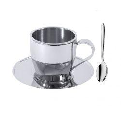 Ceasca cafea pereti dubli cu farfurie si lingurita