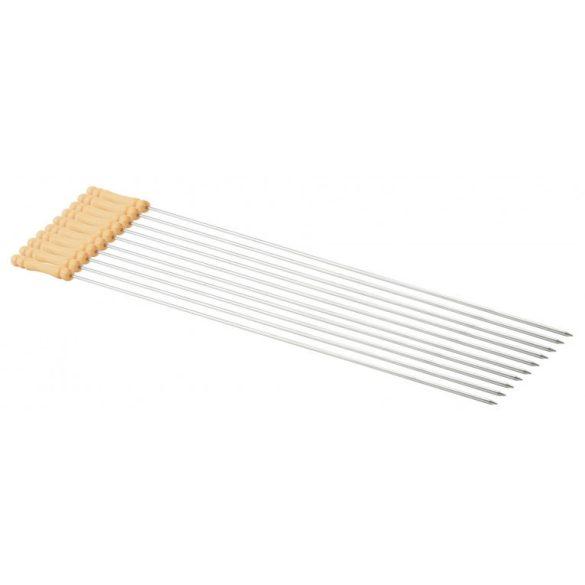 Set 10buc bete inox cu maner lemn pentru frigarui