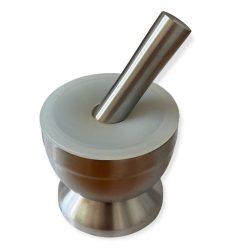 Mojar inox 10cm cu pistil si capac silicon